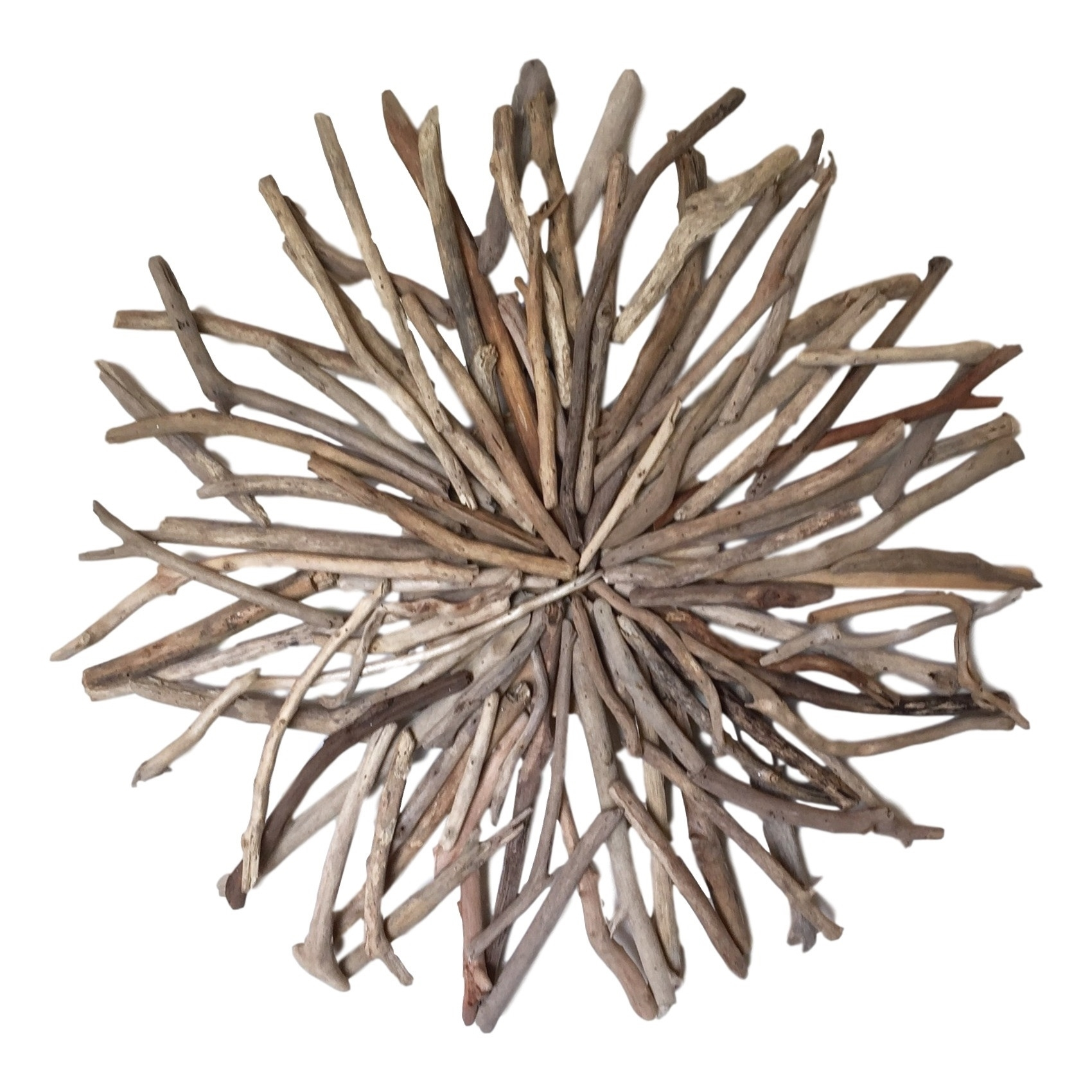 Driftwood Random Round Wall Hanging Art Indoor Outdoor 80Cm Diameter For Best And Newest Round Wall Art (View 5 of 20)