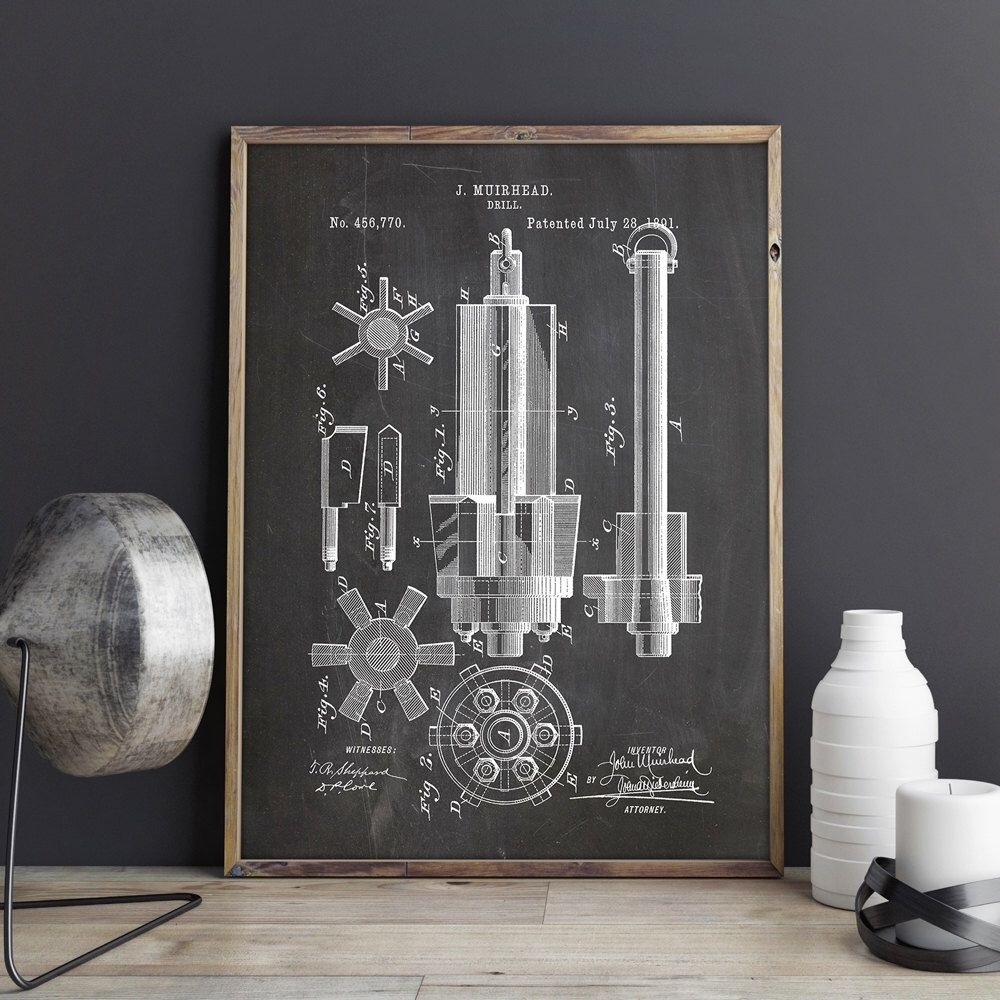Drill Printable, Drill Print, Industrial Blueprint, Garage Patent Within Most Recent Manly Wall Art (Gallery 3 of 20)