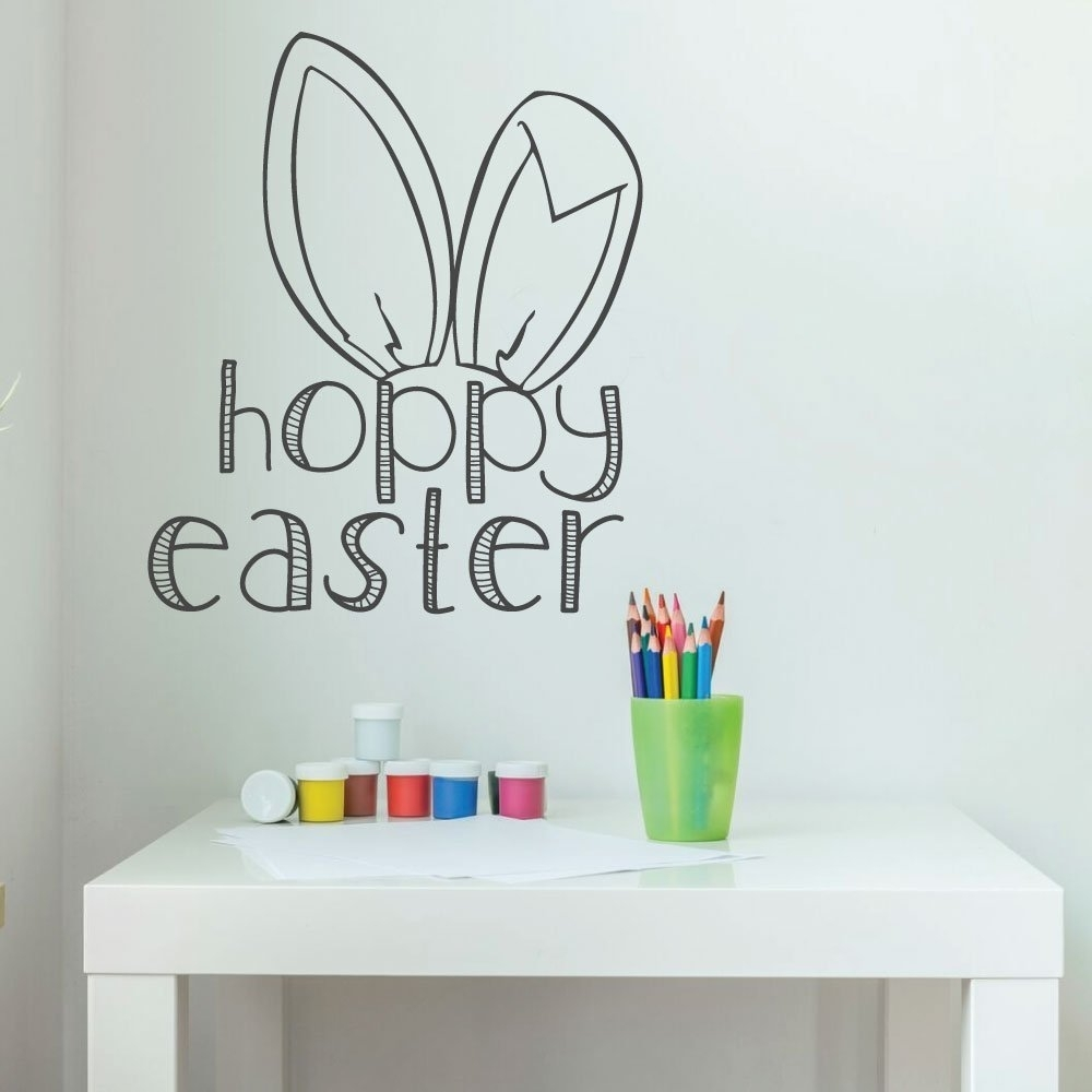 Easter Bunny Decorations, Christian Vinyl Wall Art, Easter Fun Wall Intended For Most Current Bunny Wall Art (View 12 of 20)
