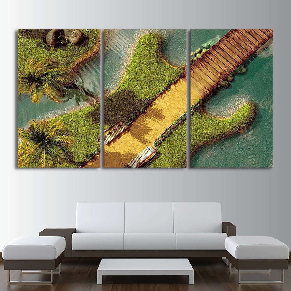 Electric Guitar As An Tropical Island Wall Art Multi Panel Canvas Within Recent Tropical Wall Art (Gallery 18 of 20)