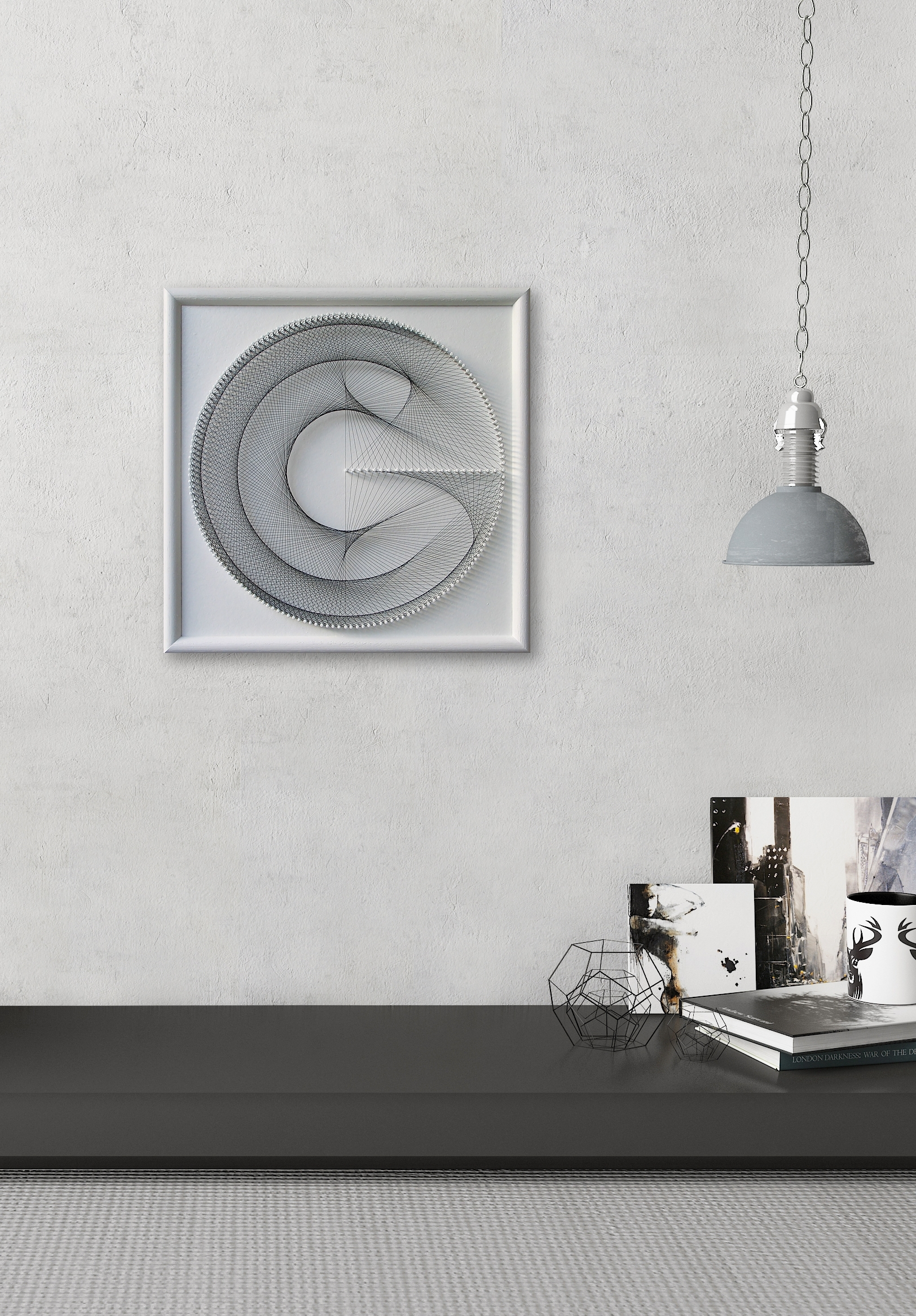 Elegant Geometric String Art – Gift For Her – White Wall Art Zen Within Most Recently Released White Wall Art (View 6 of 20)