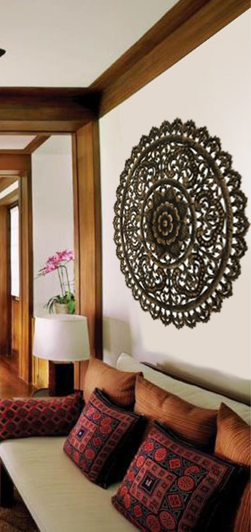 Elegant Medallion Wood Carved Wall Plaque. Large Round Wood Carving For Most Recent Round Wood Wall Art (Gallery 8 of 15)