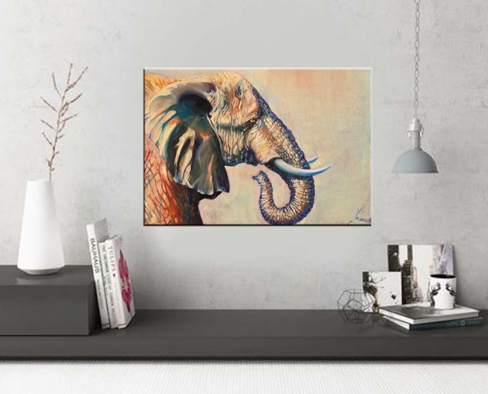 "Elephant Wall Art ""beautiful Giant"" Wildlife Art – Art Studio With Regard To Newest Elephant Canvas Wall Art (View 12 of 20)"