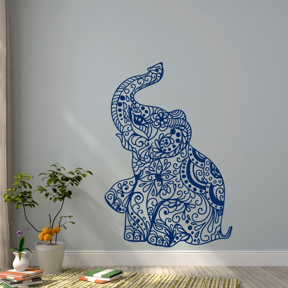Elephant Yoga Wall Decals Indie Wall Art Bedroom Dorm Nursery Boho Throughout Most Popular Bohemian Wall Art (View 8 of 20)