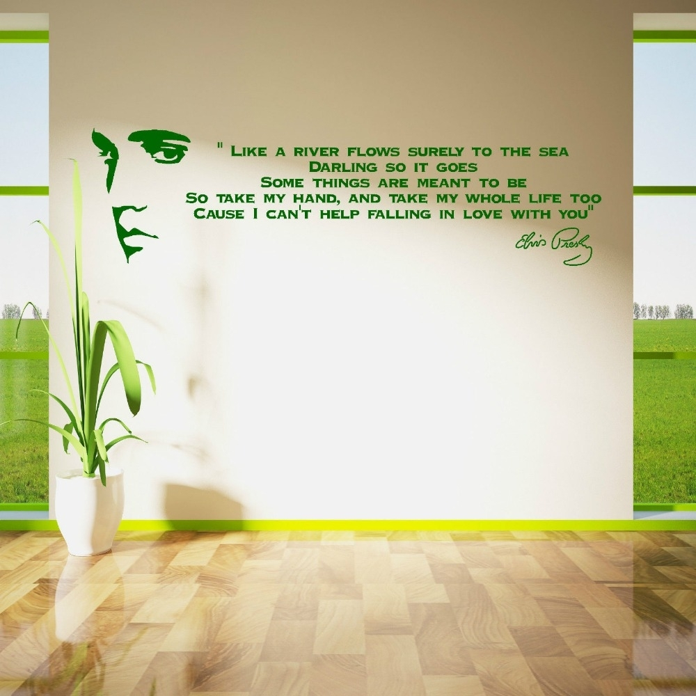 Elvis Presley Song Lyrics Like A River Vinyl Wall Art Sticker Room Inside Most Popular Song Lyric Wall Art (View 7 of 20)