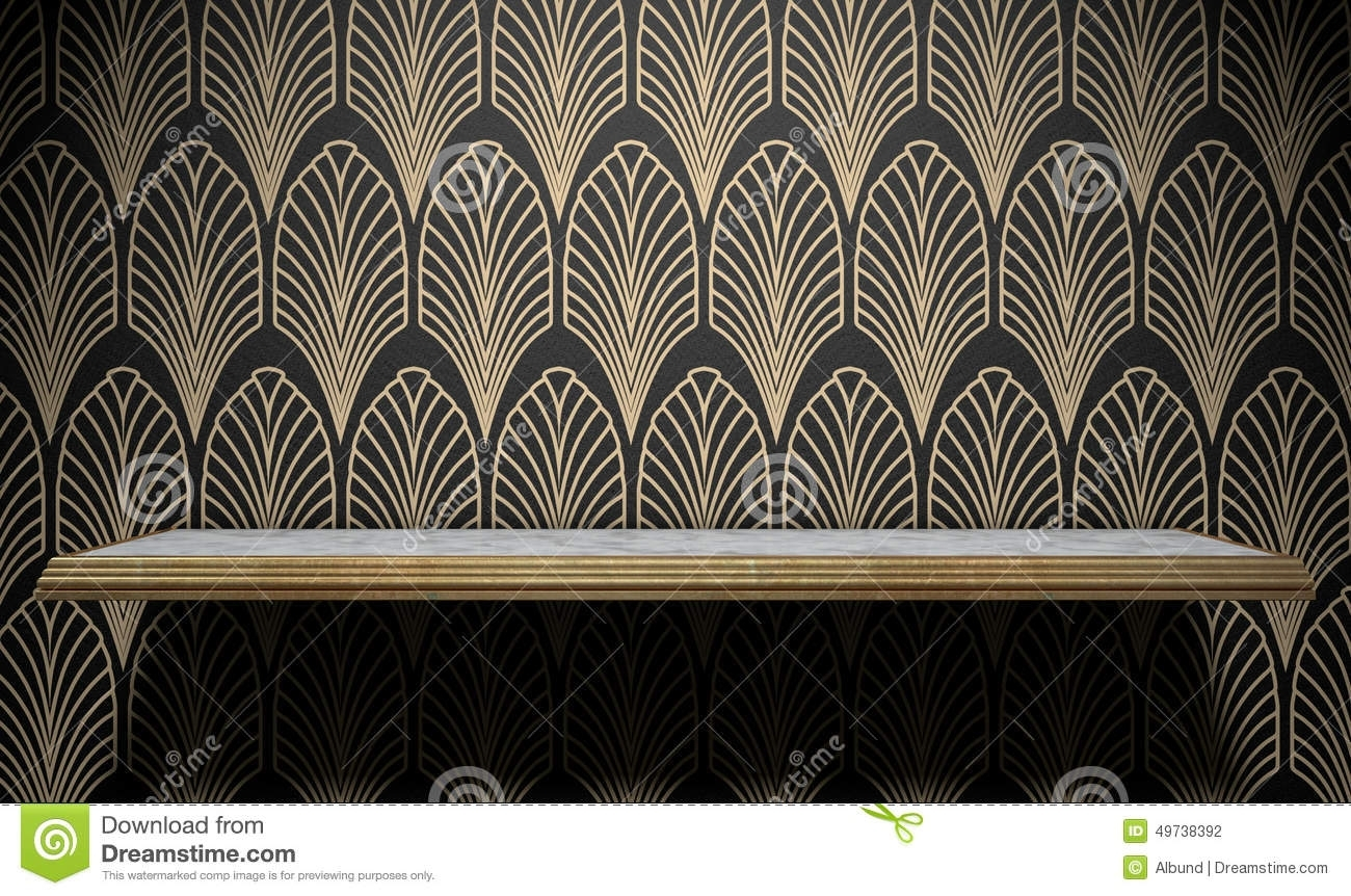Empty Art Deco Shelf On Wall Stock Illustration – Illustration Of Inside Most Up To Date Art Deco Wall Art (View 9 of 20)