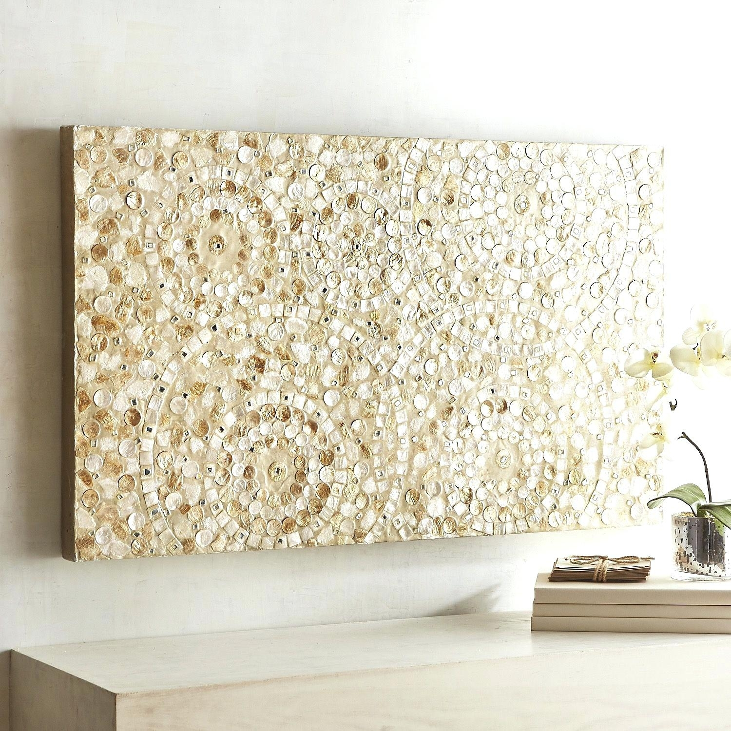 Enjoyable Design Ideas Capiz Wall Art Com Shell Fish Bowl Flower Intended For Newest West Elm Wall Art (View 10 of 20)