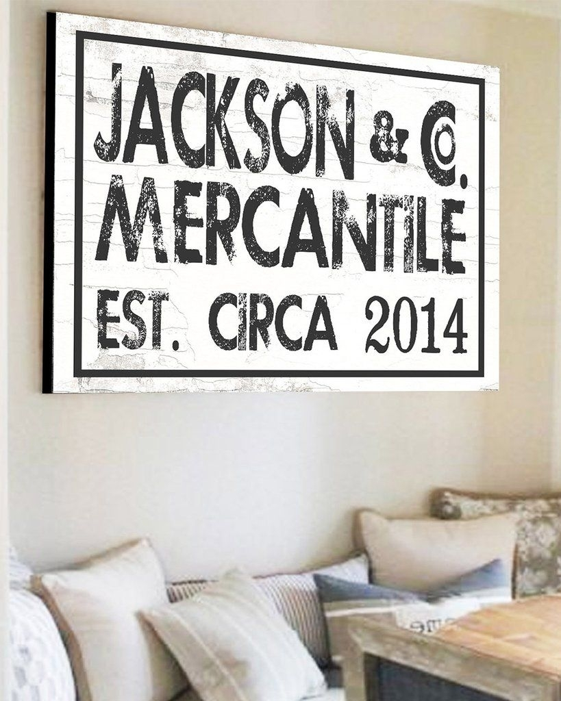 Est Family Name Sign – Custom Farmhouse Wall Decor | Farmhouse Wall Regarding Most Current Family Name Wall Art (View 5 of 20)