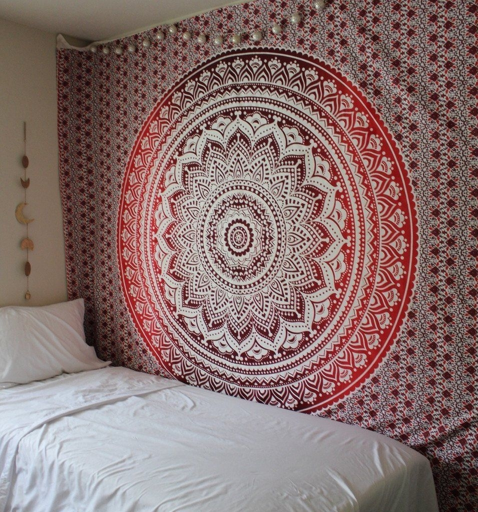 Exclusive Branded Ombre Tapestry'the Boho Street', Indian Throughout Current Mandala Wall Art (Gallery 4 of 20)