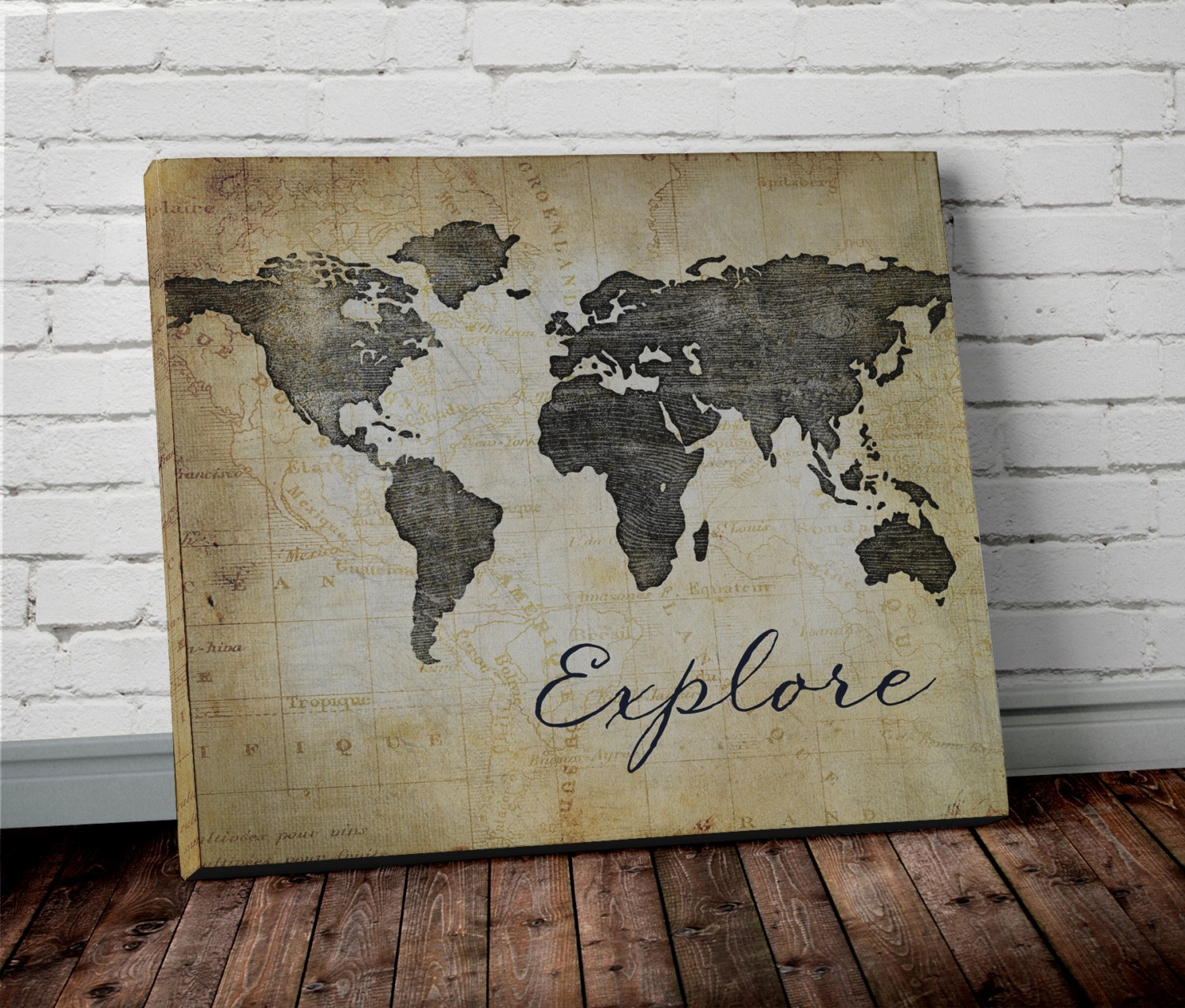 Explore World Map Wall Art Canvas World Map Print In Brown New For Newest Maps Wall Art (View 5 of 20)