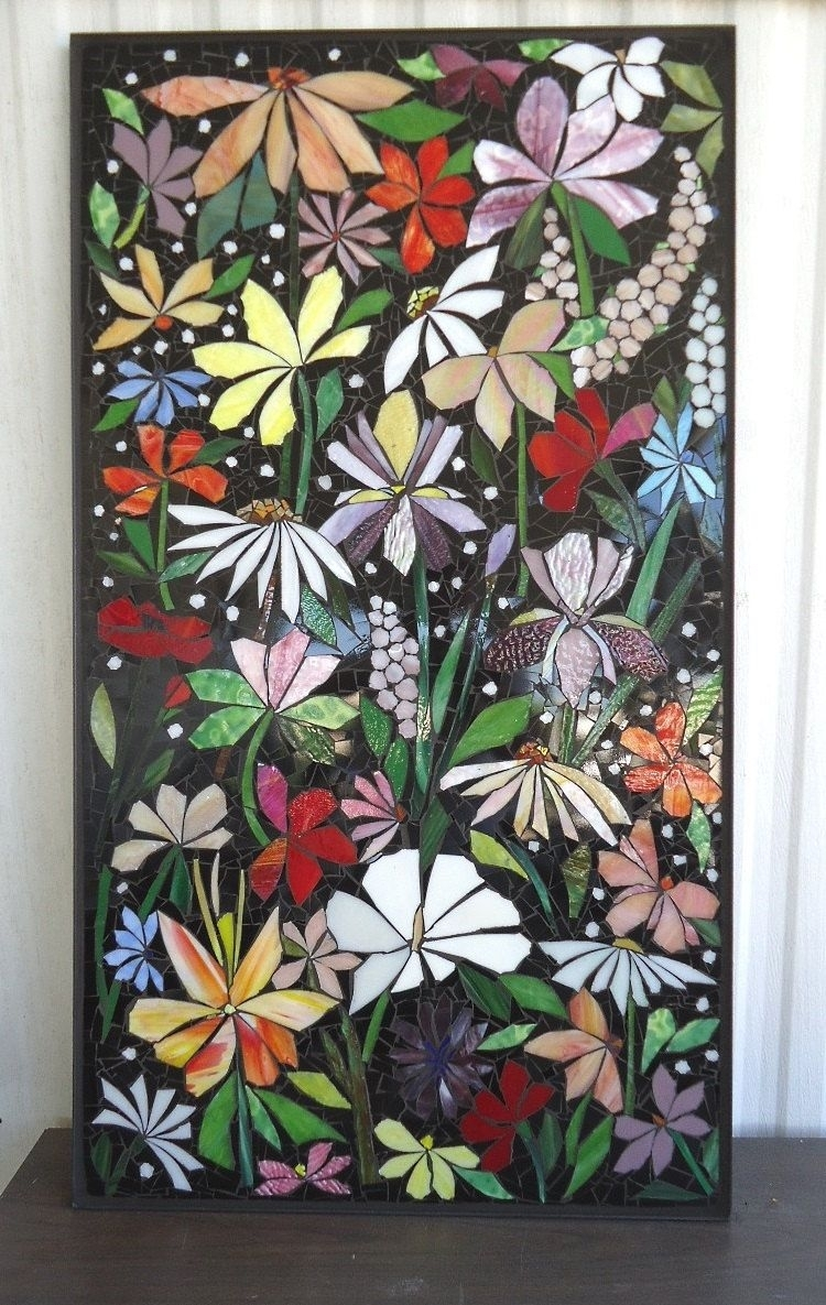Exterior Mosaic Wall Art Stained Glass Wall Decor Floral Garden Intended For Best And Newest Stained Glass Wall Art (View 9 of 20)