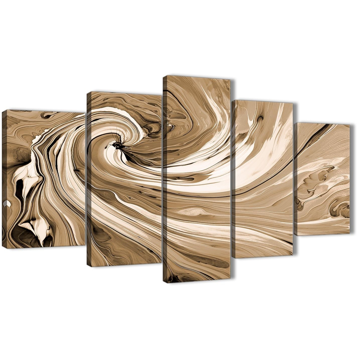 Extra Large Brown Cream Swirls Modern Abstract Canvas Wall Art Within Most Recently Released Cheap Oversized Canvas Wall Art (View 8 of 20)