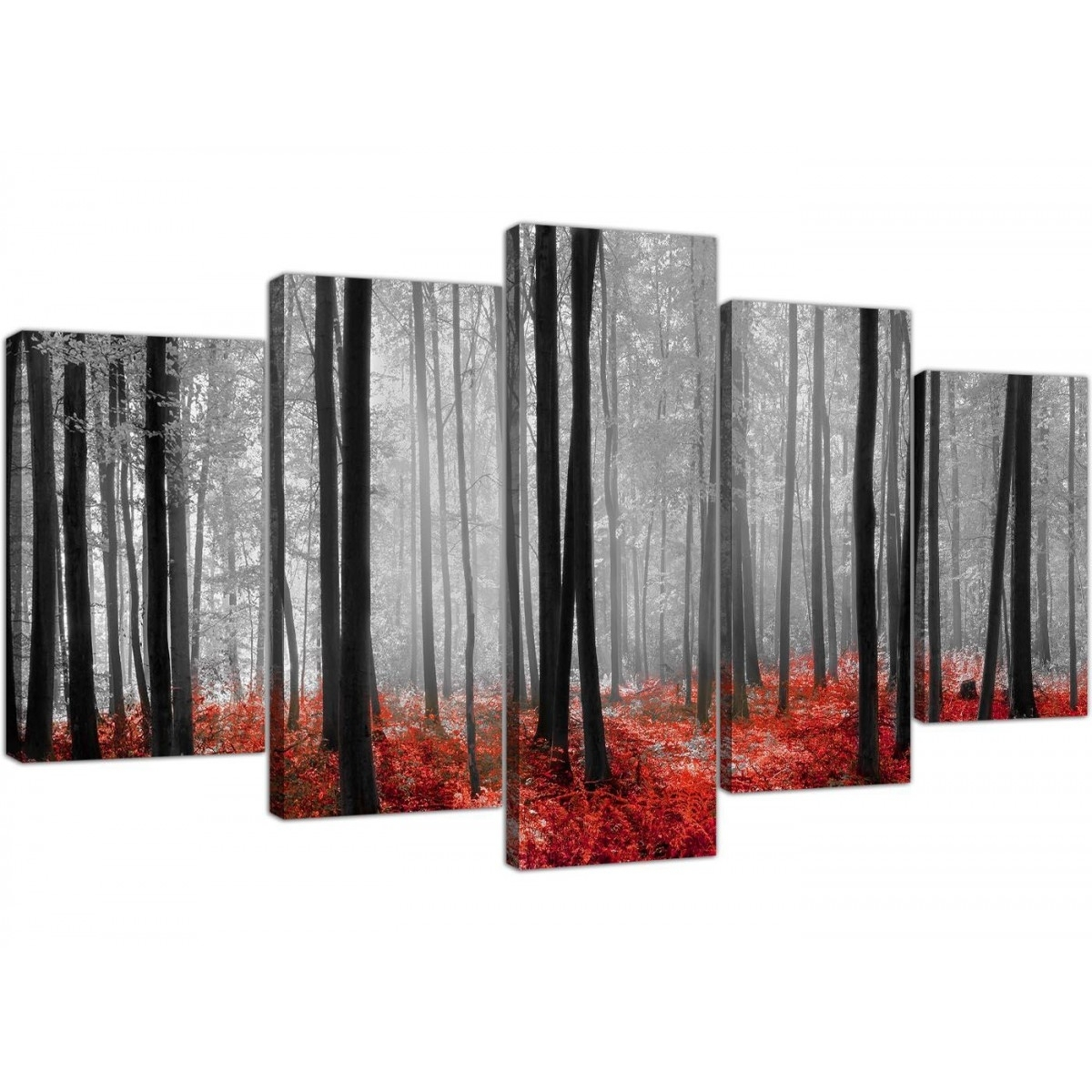 Extra Large Canvas Prints Of Red Forest Woodland Trees In Black & White With Most Current Red And Black Canvas Wall Art (Gallery 3 of 20)