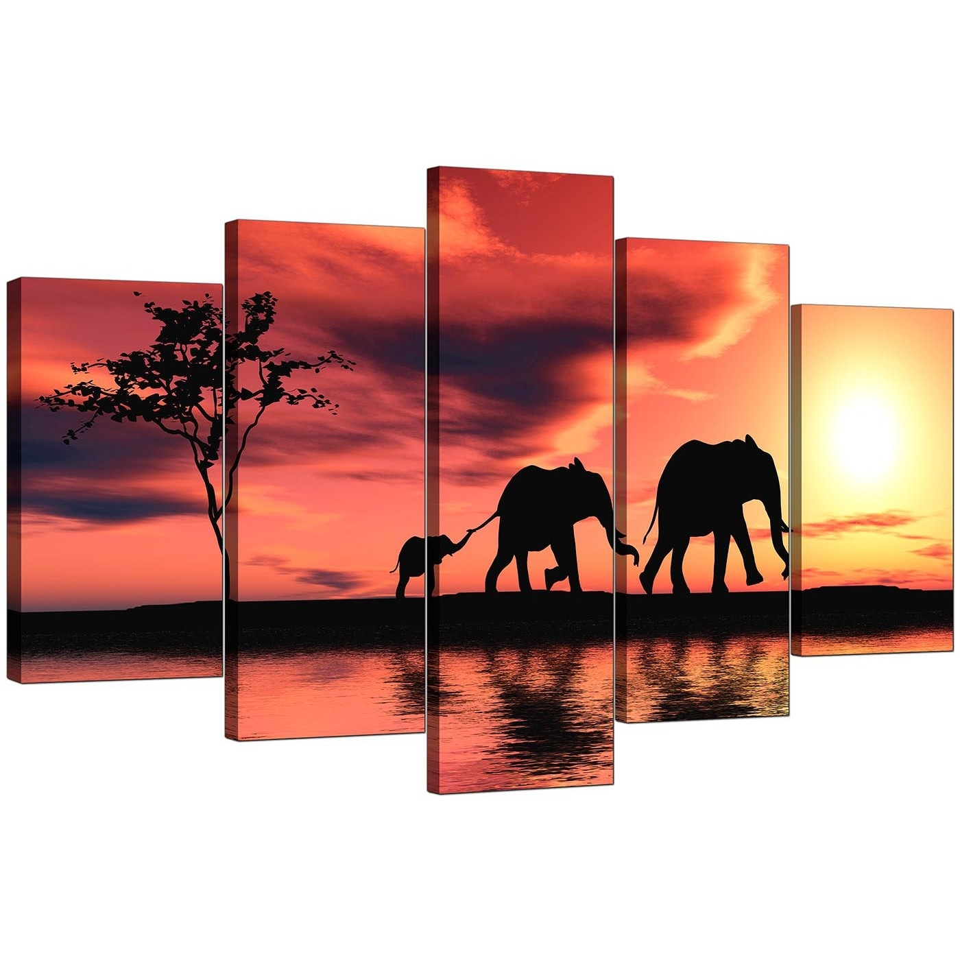 Extra Large Elephants Canvas Prints 5 Piece In Orange Pertaining To Best And Newest Elephant Canvas Wall Art (View 14 of 20)