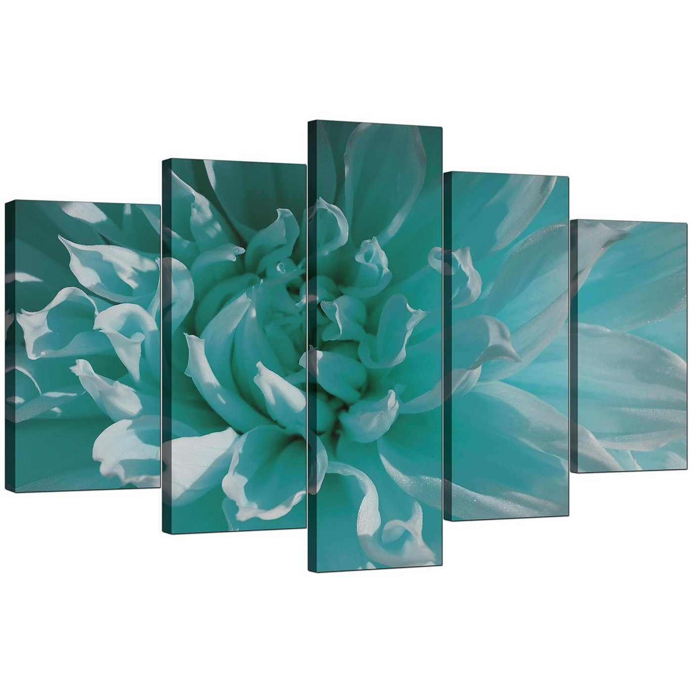 Extra Large Flower Canvas Wall Art 5 Piece In Teal With Regard To Newest Teal Wall Art (View 6 of 15)