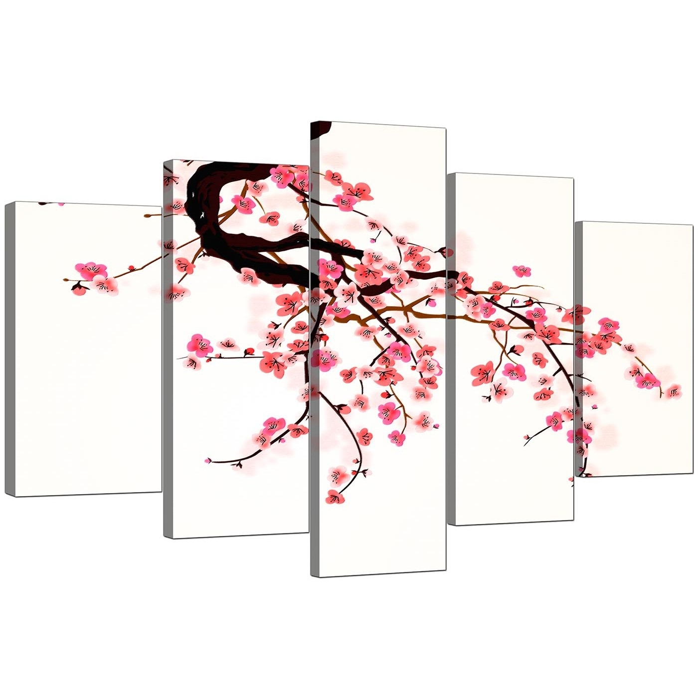 Extra Large Flowers Canvas Wall Art Set Of 5 In Pink With Regard To 2017 Cherry Blossom Wall Art (View 18 of 20)