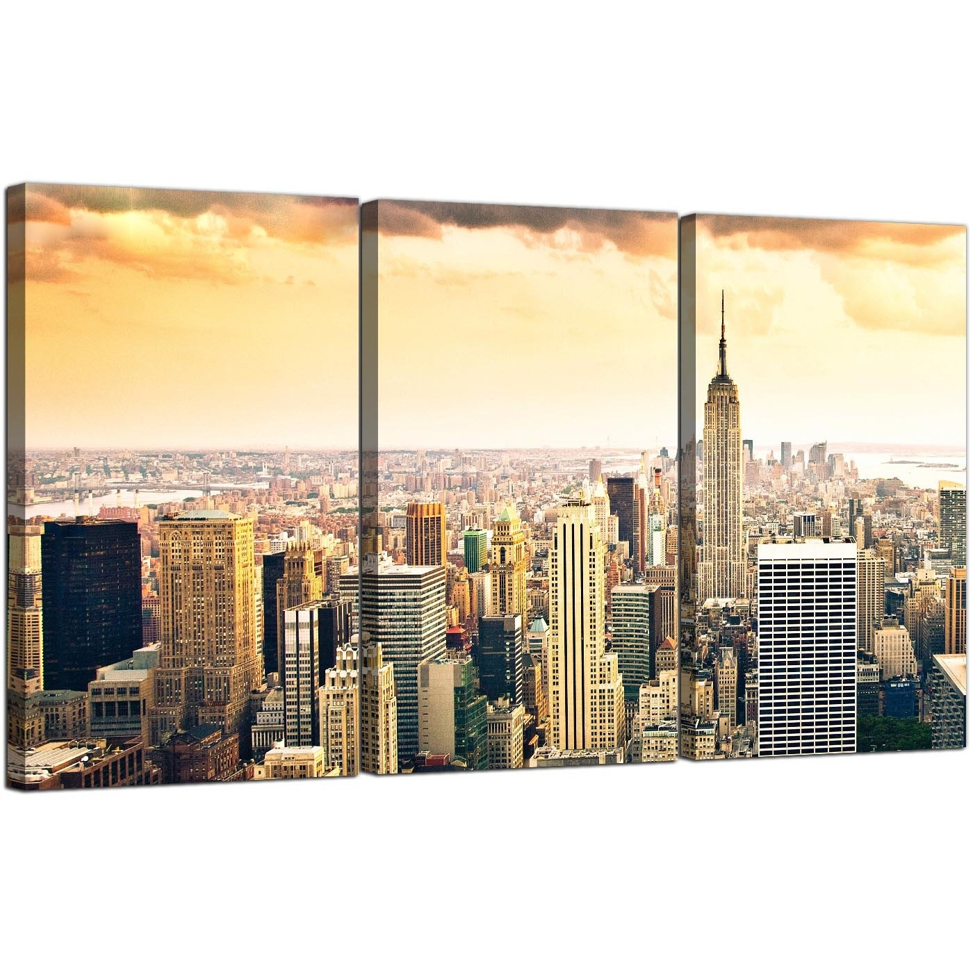 Extra Large New York Skyline Canvas Pictures 3 Panel For Your Bedroom Intended For Most Up To Date New York Canvas Wall Art (View 9 of 15)