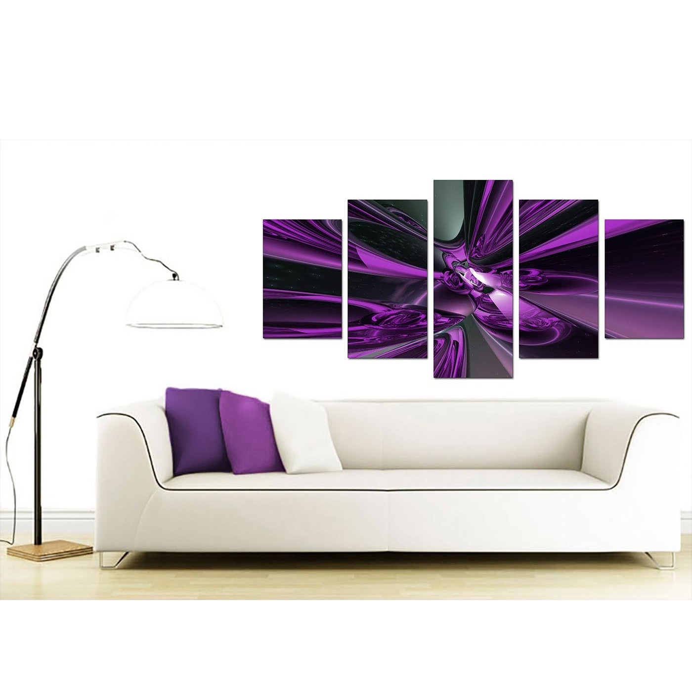 Extra Large Purple Abstract Canvas Prints Uk – 5 Piece With Regard To Most Recent Cheap Large Wall Art (View 9 of 20)