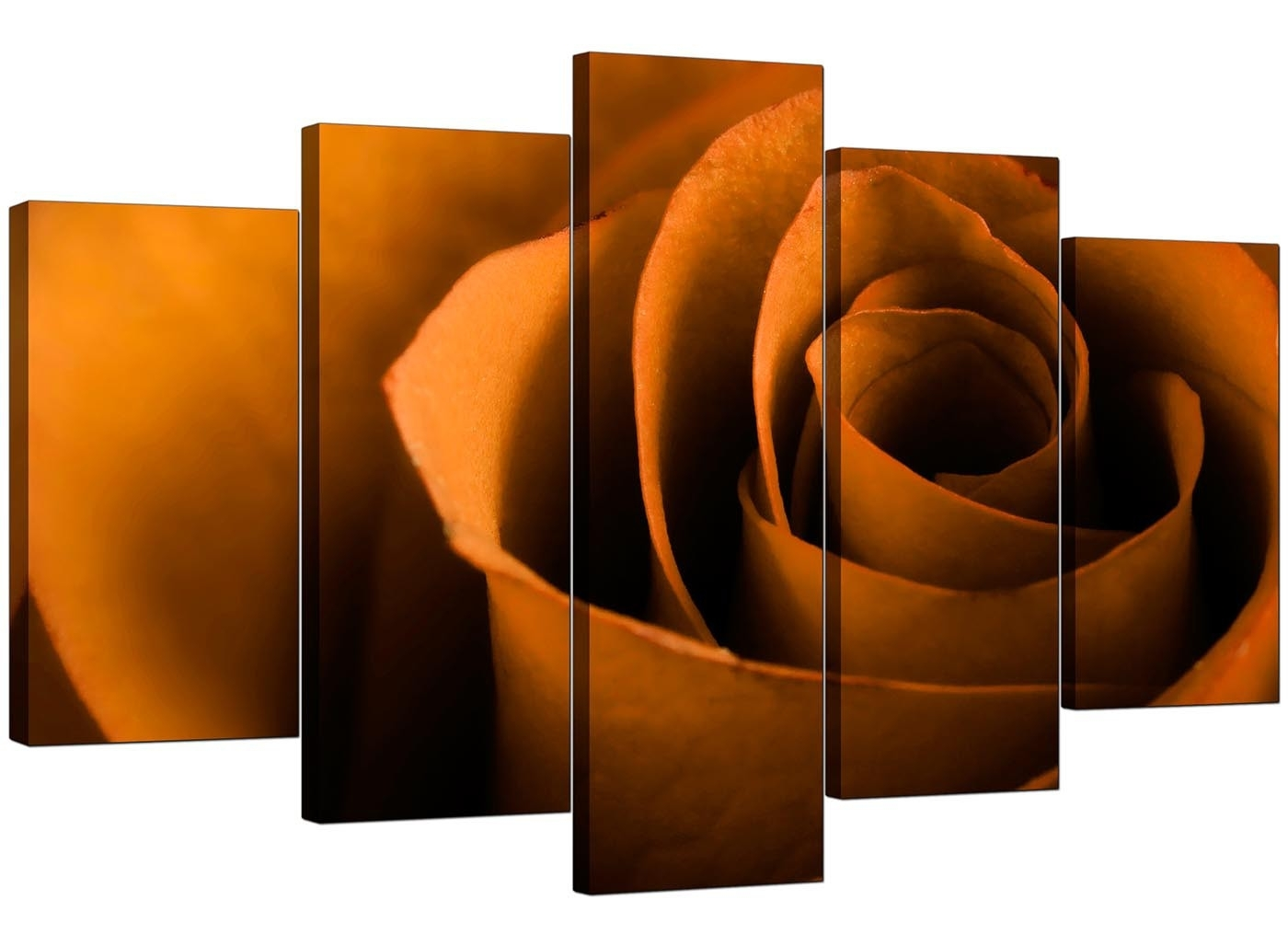 Extra Large Rose Canvas Wall Art 5 Panel In Orange Within Best And Newest Orange Wall Art (View 11 of 20)
