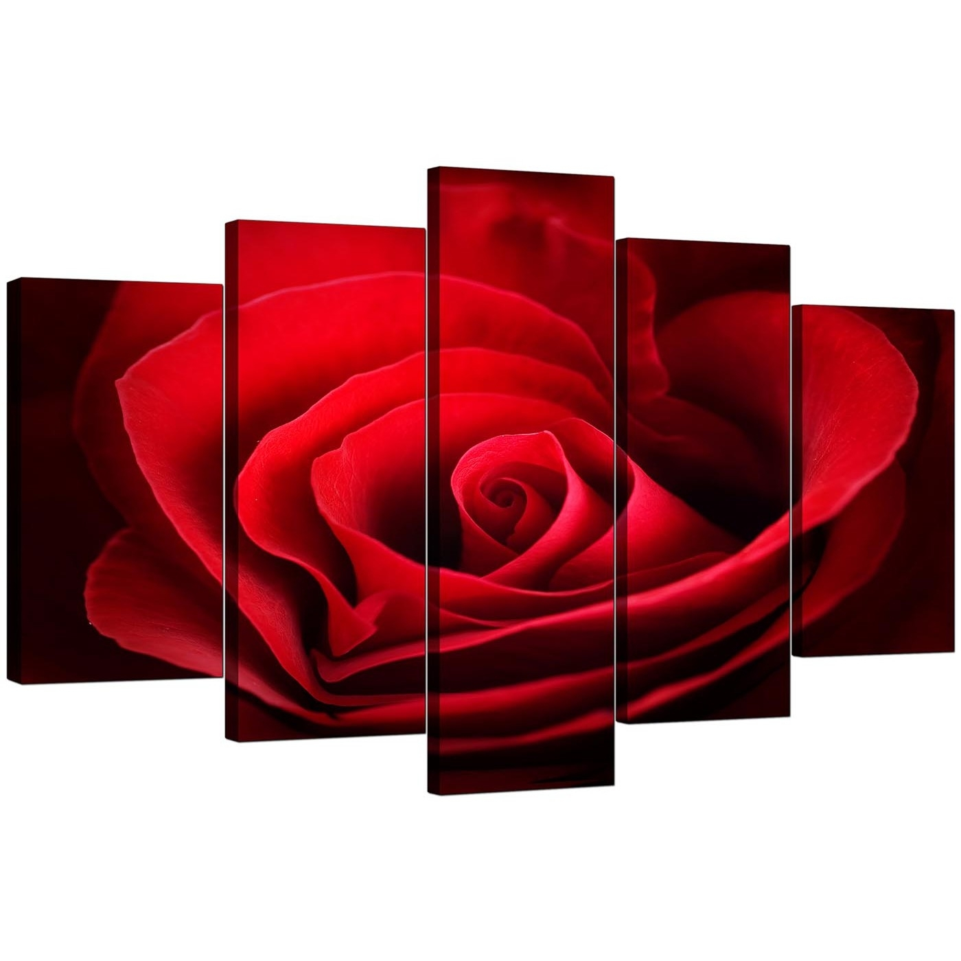 Extra Large Rose Canvas Wall Art 5 Panel In Red Throughout Most Popular Red Wall Art (View 3 of 15)