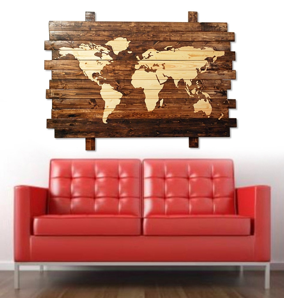 Extra Large Rustic Stained Wood World Map Wall Art 50. Map Of Decor In Best And Newest Large Rustic Wall Art (Gallery 20 of 20)