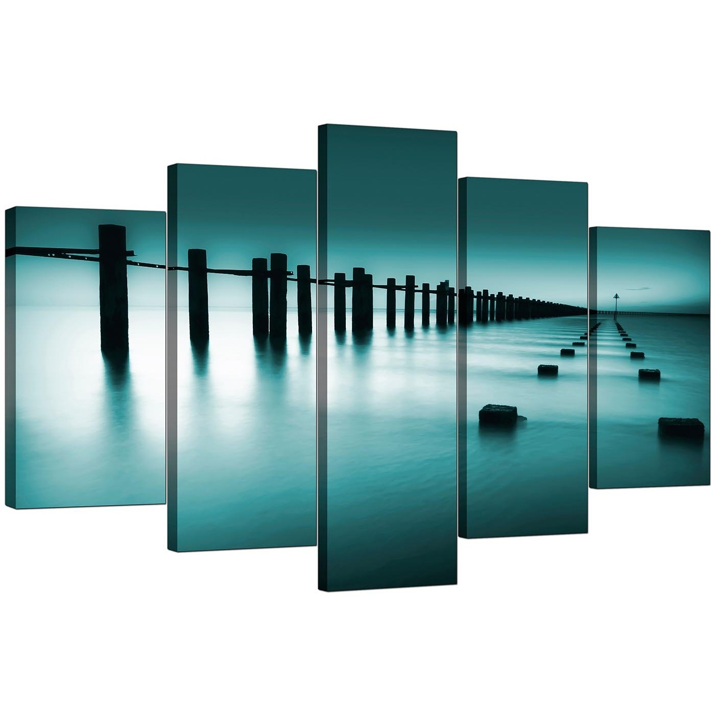 Extra Large Sea Canvas Wall Art Five Panel In Teal With Newest Five Piece Canvas Wall Art (View 9 of 20)