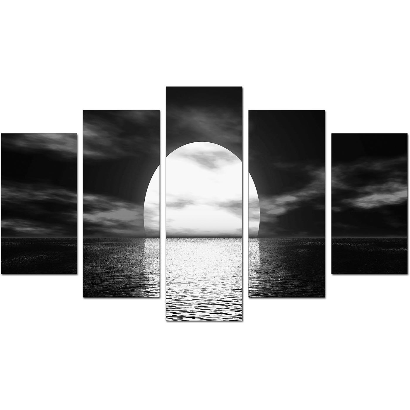 Extra Large Sunset Canvas Prints Uk Set Of Five In Black & White For Newest Black And White Large Canvas Wall Art (View 12 of 20)