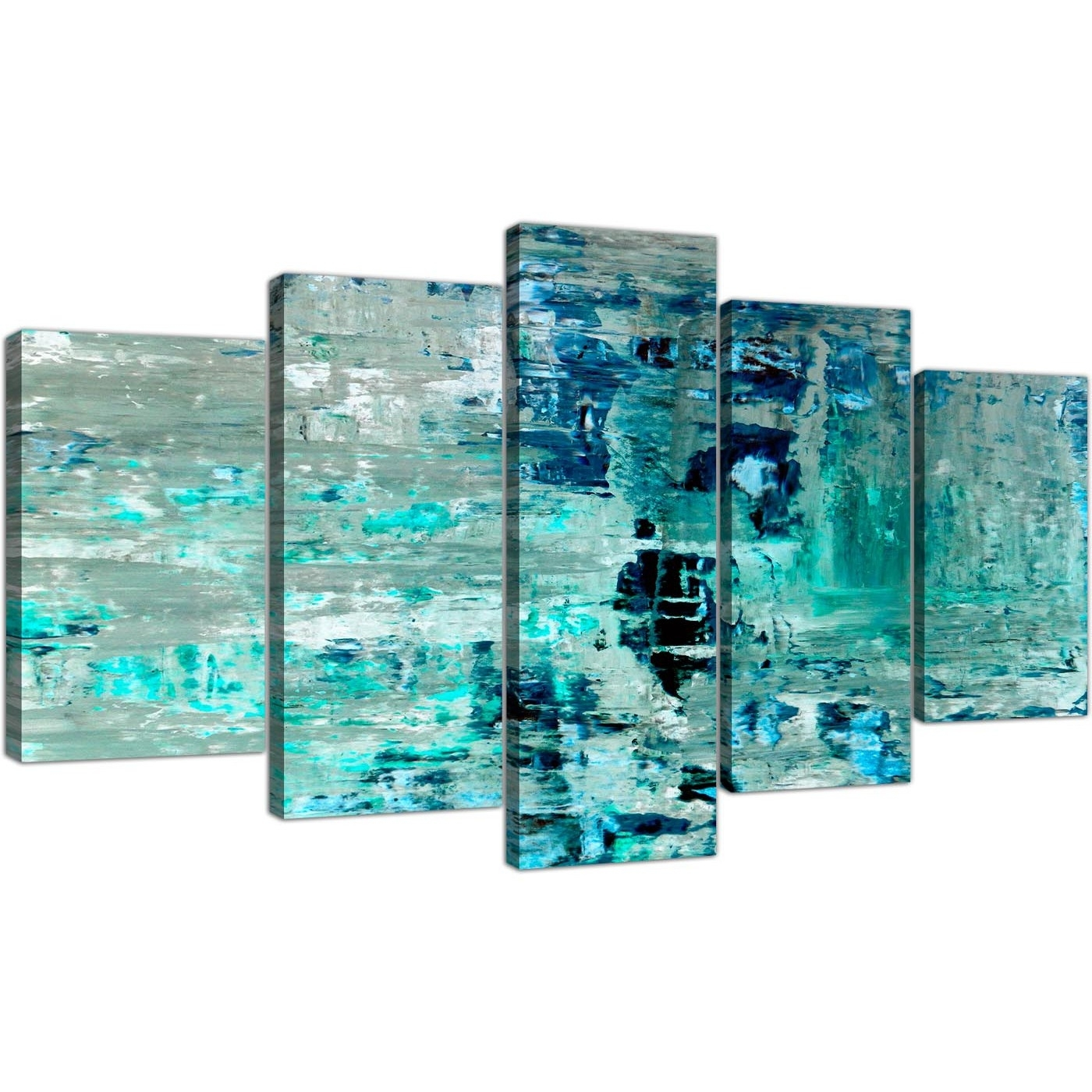 Extra Large Turquoise Teal Abstract Painting Wall Art Print Canvas In Most Recent Large Canvas Painting Wall Art (View 13 of 20)