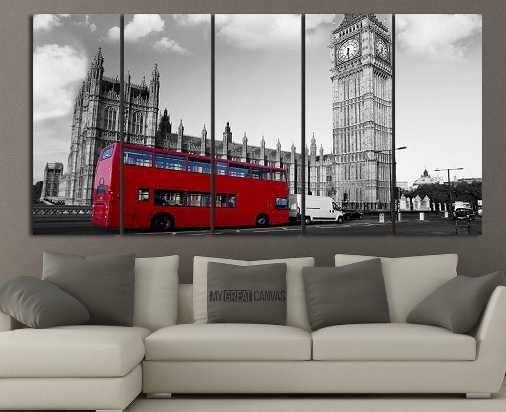 Extra Large Wall Art London City And Red Bus Canvas Printing | Red For Most Recently Released Extra Large Wall Art (View 10 of 20)
