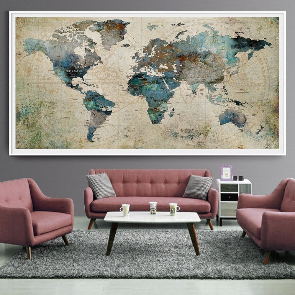 Extra Large Wall Art Push Pin World Map Art Print, Large Wall Decor For Most Popular Extra Large Wall Art (Gallery 8 of 20)