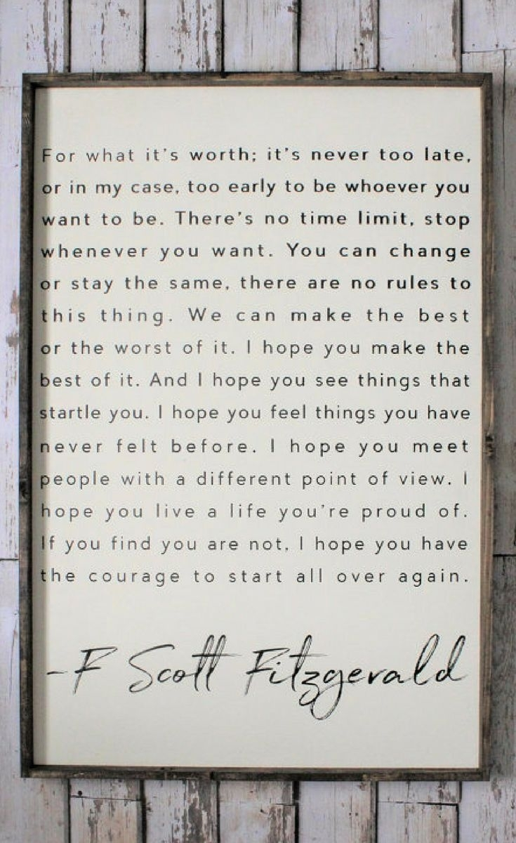 F. Scott Fitzgerald Quote, Wood Sign. Inspiring Quotes. Rustic Decor With Latest Wood Wall Art Quotes (Gallery 14 of 20)