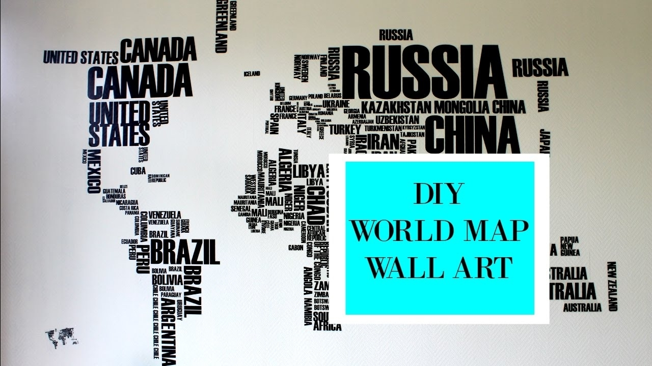 ? Diy World Map Wall Art ? | Summer Sale Alert! – Youtube With Regard To Newest Tumblr Wall Art (Gallery 14 of 20)