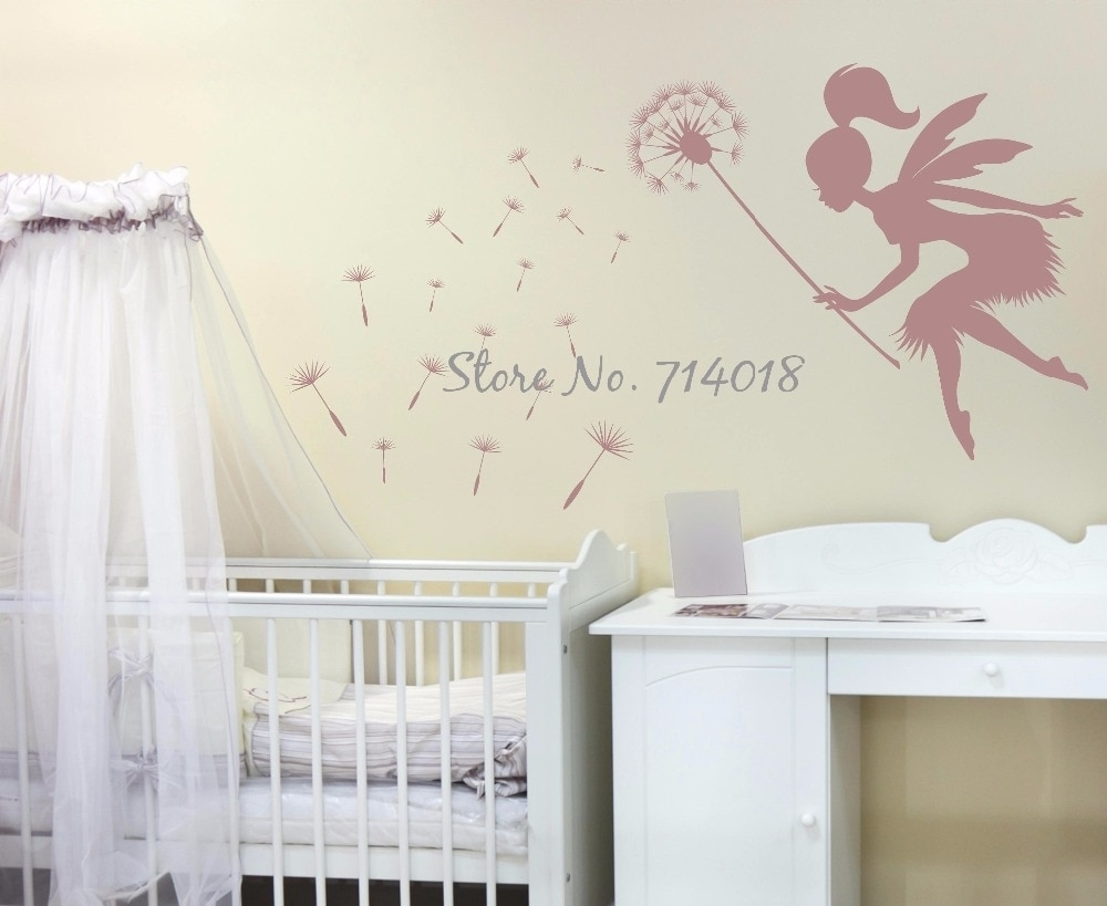 Fairy Blowing Dandelions Wall Decal Dandelion Seeds Wall Art Kids Regarding 2018 Dandelion Wall Art (Gallery 15 of 20)
