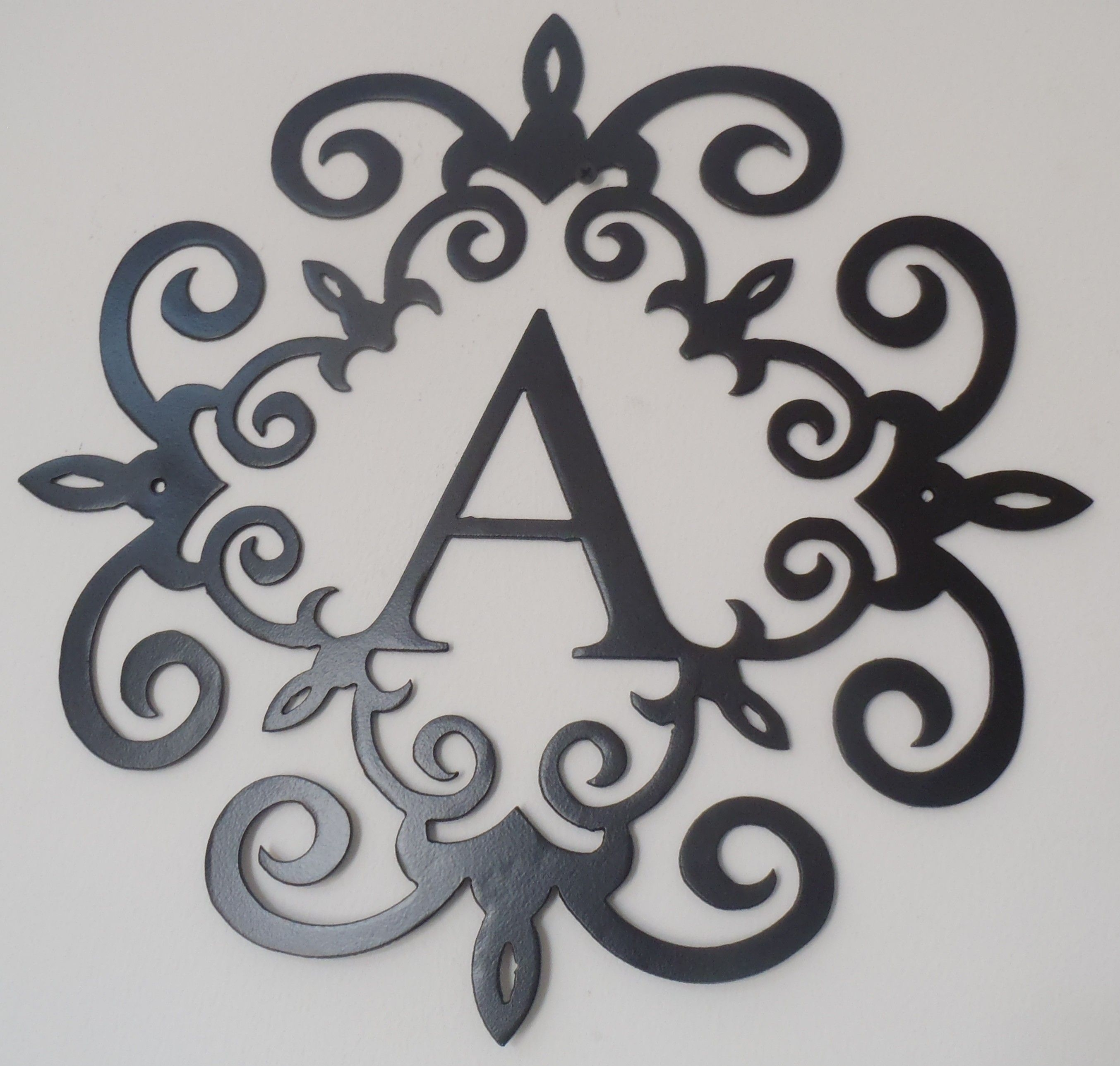 Family Initial, Monogram Inside A Metal Scroll With A Letter, Wall With Regard To Most Popular Metal Scroll Wall Art (View 18 of 20)