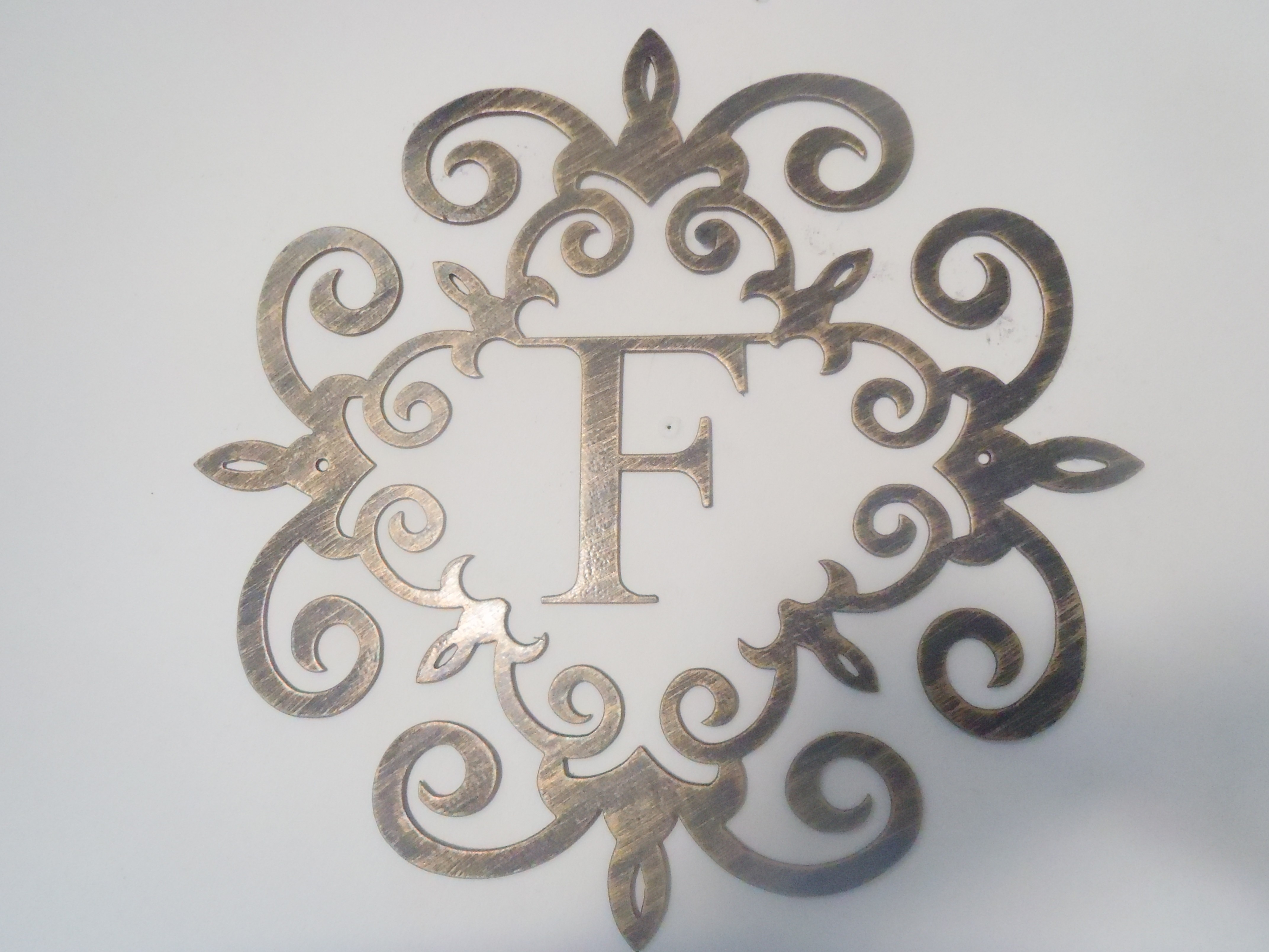 Family Initial, Monogram Inside A Metal Scroll With F Letter, 30 Regarding Most Current Metal Letter Wall Art (View 5 of 20)