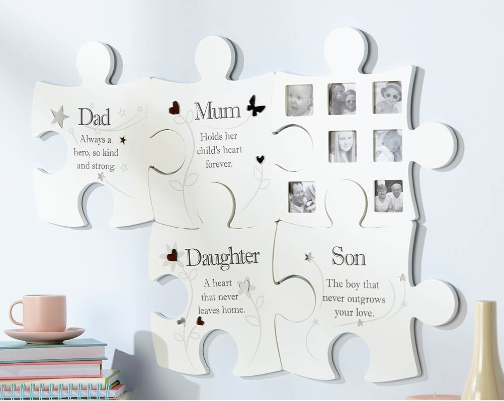 Family Jigsaw Wall Art Photo Picture Frame Dad Mum Son Daughter Inside 2017 Family Wall Art (View 2 of 15)