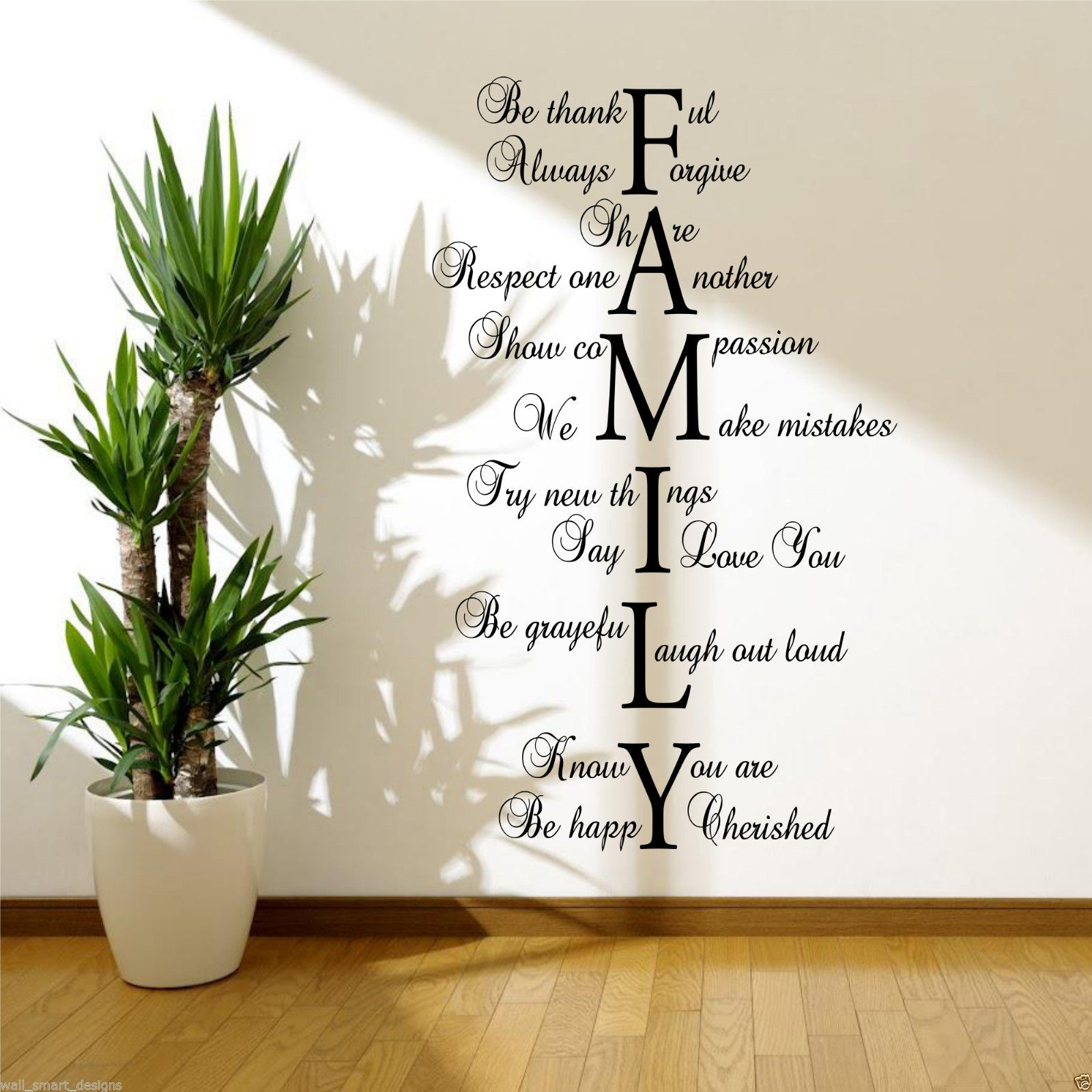 Family Love Life Wall Art Sticker Quote Room Decal Mural Transfer For Latest Quote Wall Art (View 3 of 20)