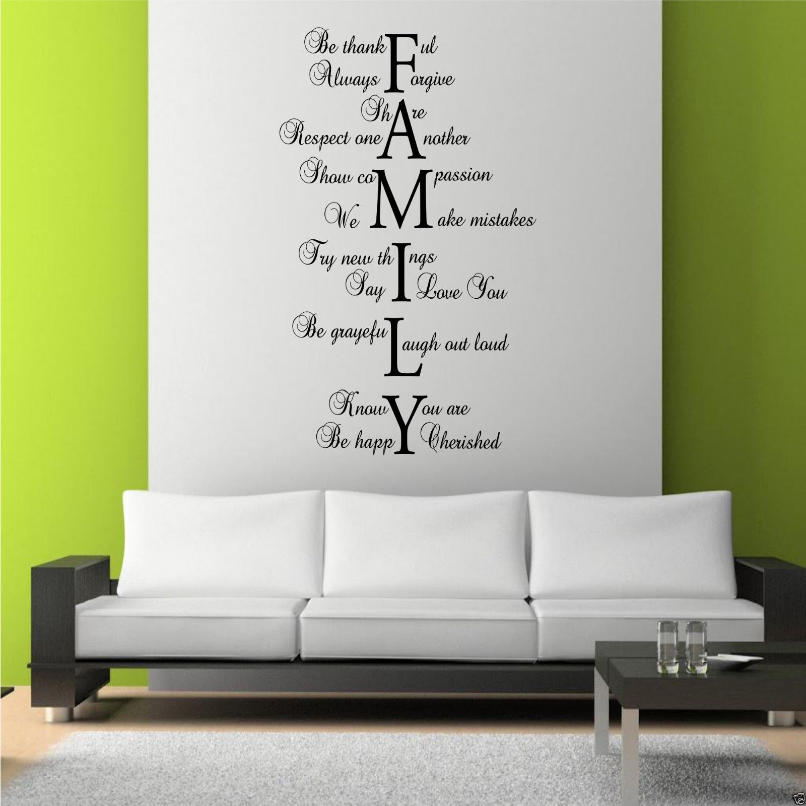 Family Love Life Wall Art Sticker Quote Room Decal Mural Transfer pertaining to Recent Wall Sticker Art