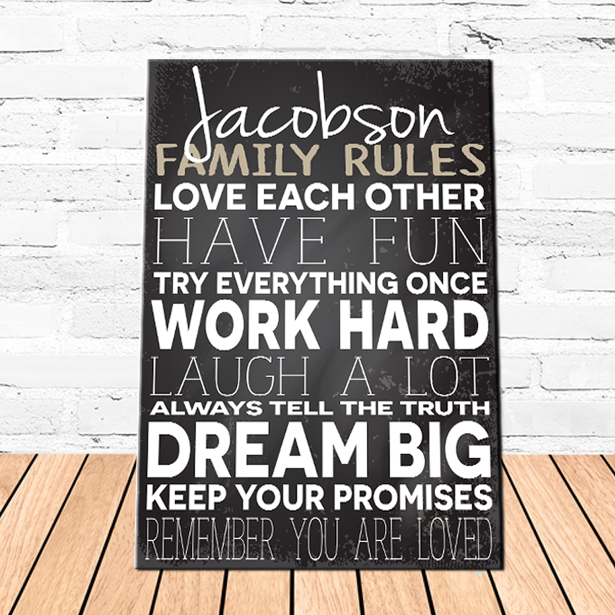 Family Love Rules Canvas | Personalized Canvas Signs | Family Rules with Recent Family Rules Wall Art