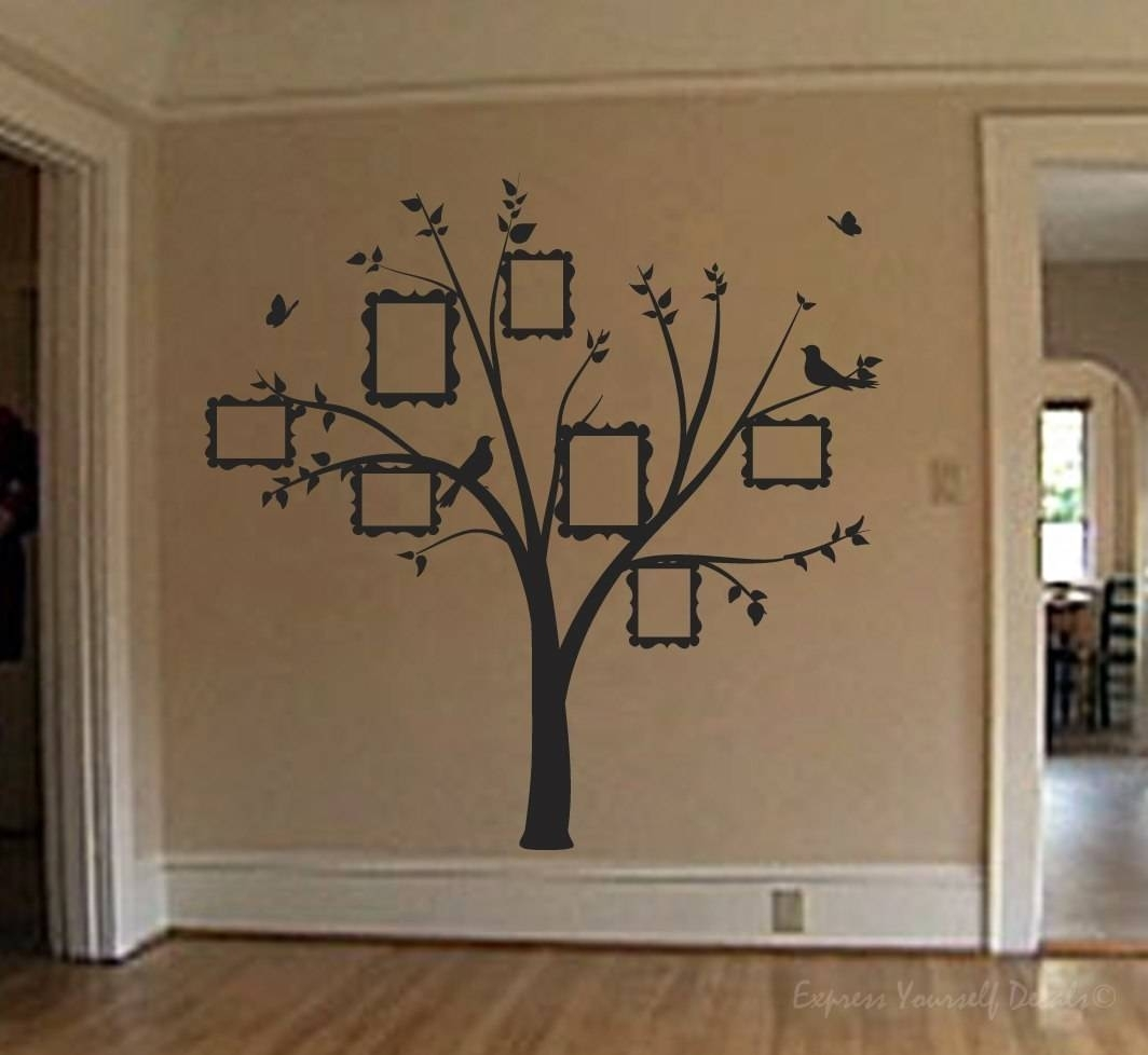Family Photo Tree Wall Art Decal | Wall Art Decal Sticker regarding Most Recently Released Wall Tree Art