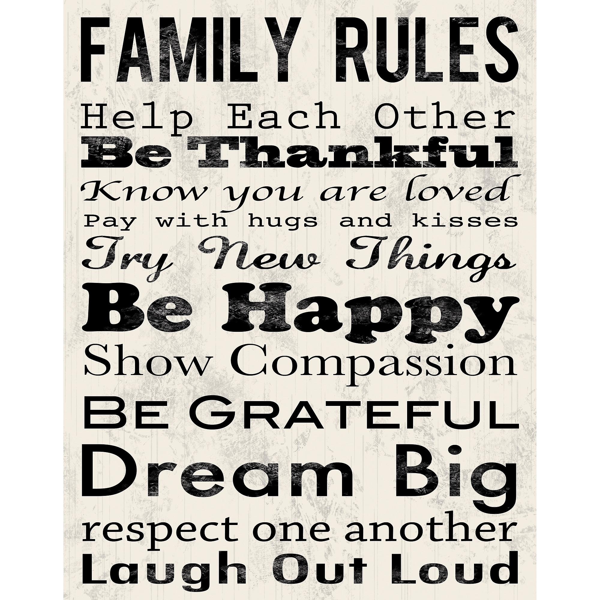 "Family Rules B Canvas Wall Art, 15"" X 19"" - Walmart in Latest Family Rules Wall Art"