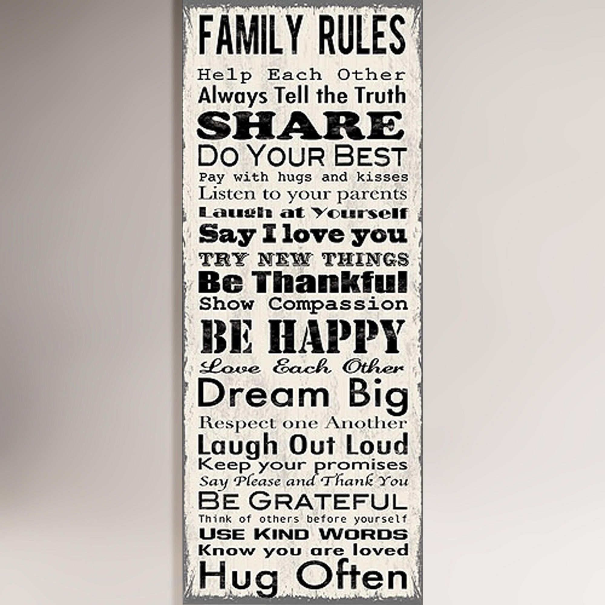 Family Rules Canvas Wall Art Decal | World Market | Home Is Where With Most Up To Date Family Rules Wall Art (View 11 of 20)