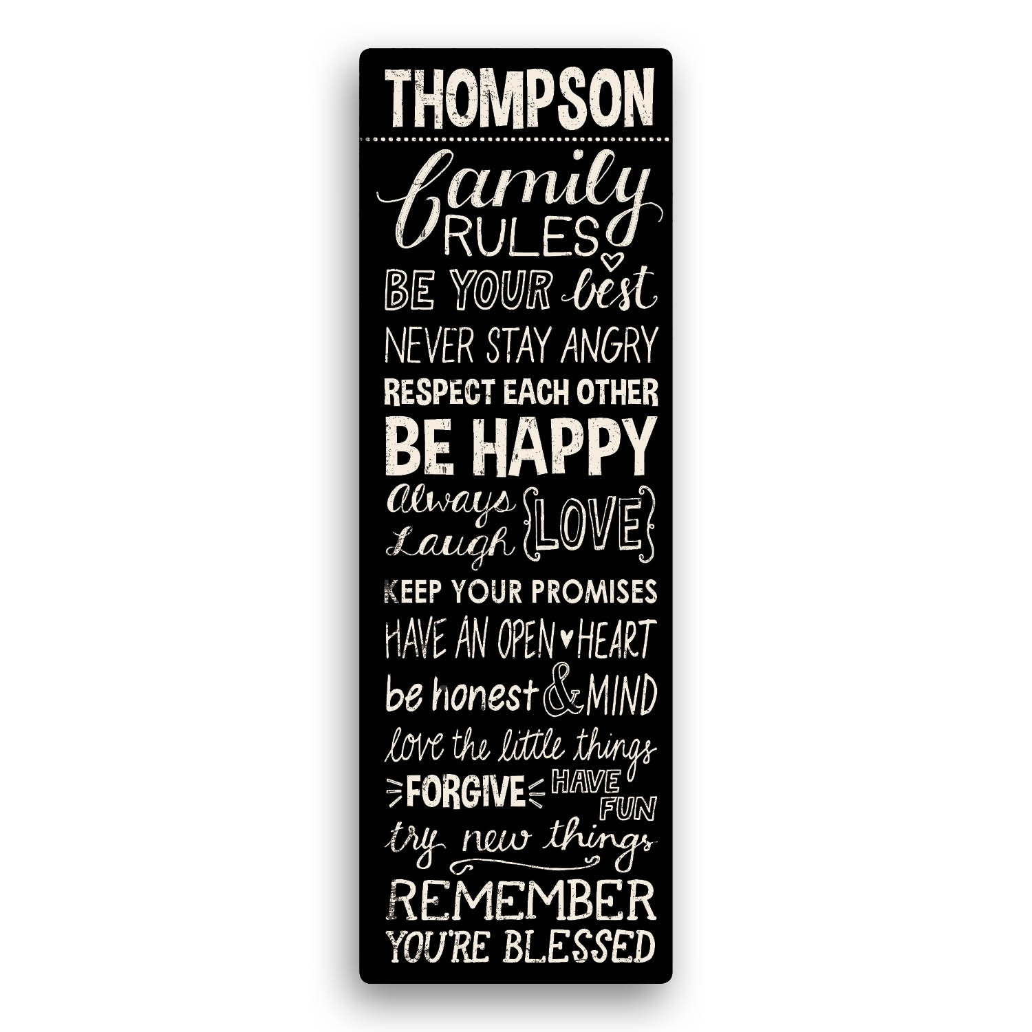 Family Rules Personalized 9X27 Personalized Canvas—Black Inside Latest Family Rules Wall Art (Gallery 4 of 20)