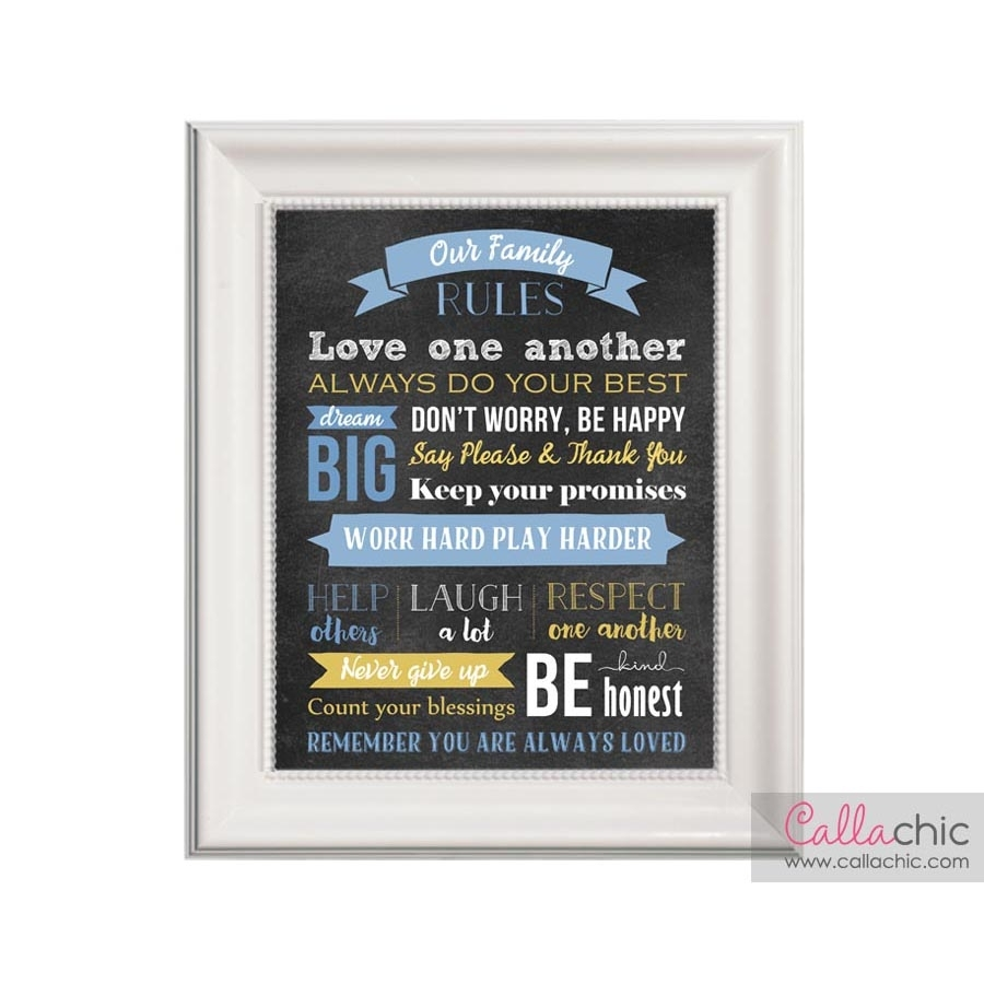 Family Rules Printable Wall Art – Callachic throughout Latest Family Rules Wall Art
