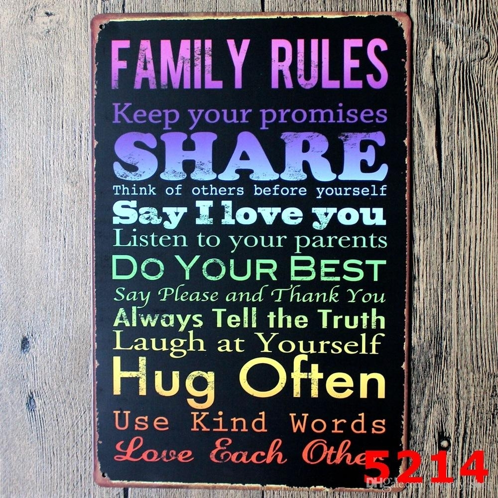 Family Rules Tin Sign Vintage Wall Art Keep Your Promises Poset For With Regard To Newest Family Rules Wall Art (View 8 of 20)