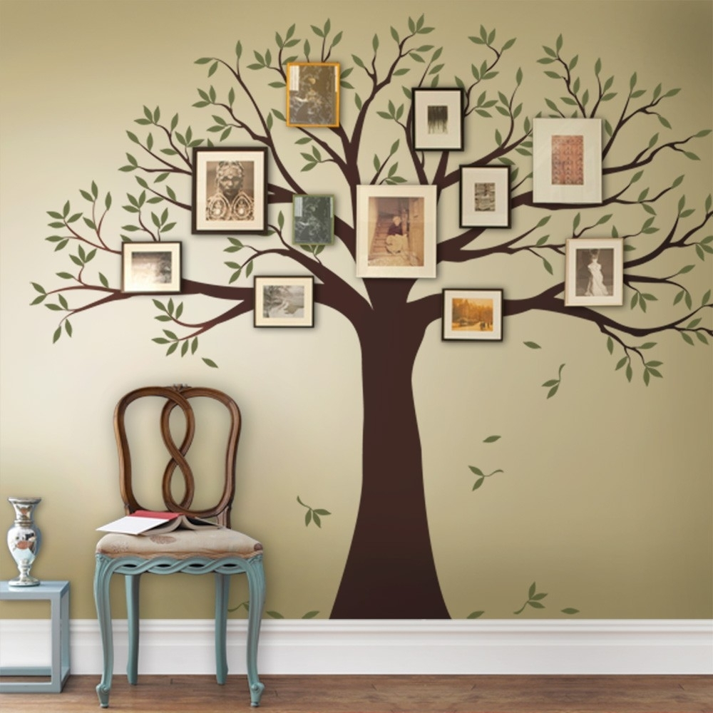 Family Tree Decal - Two Colors - Wall Decals - Scheme A pertaining to Best and Newest Family Tree Wall Art
