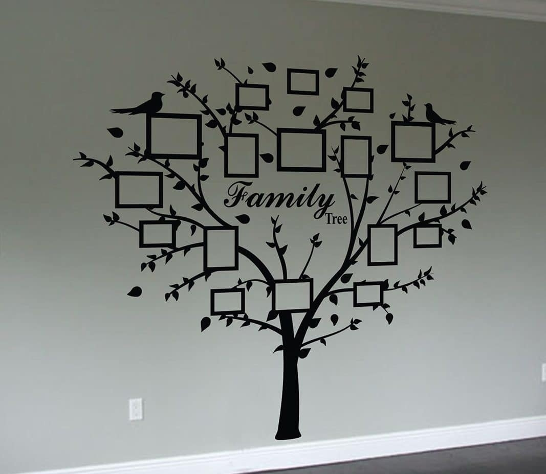Family Tree Quote And Decal Frames | Wall Art Decal Sticker inside Best and Newest Family Tree Wall Art