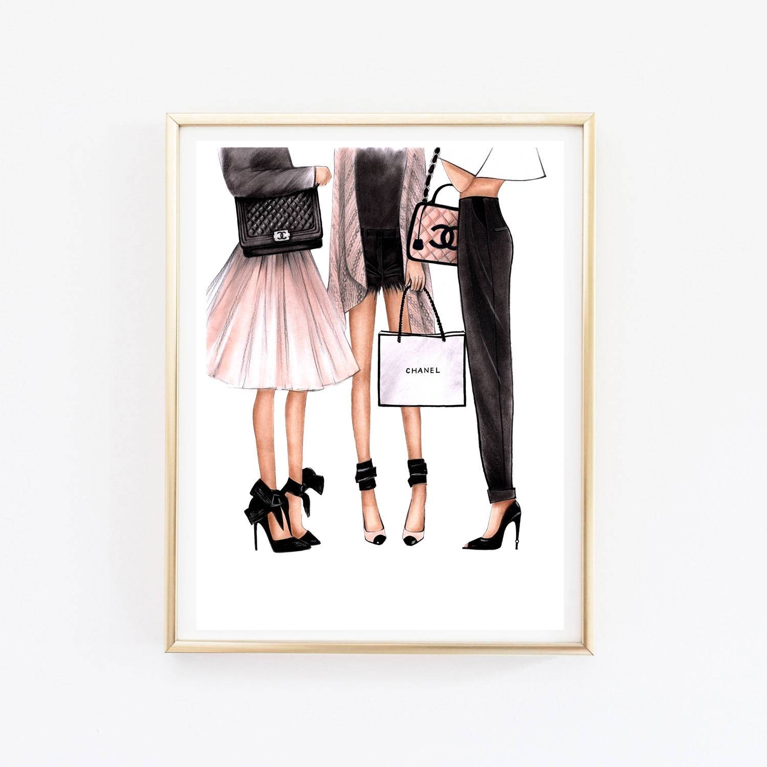 Fashion Illustration Chanel Art Chanel Print Fashion Wall Art Throughout Most Up To Date Fashion Wall Art (View 7 of 20)