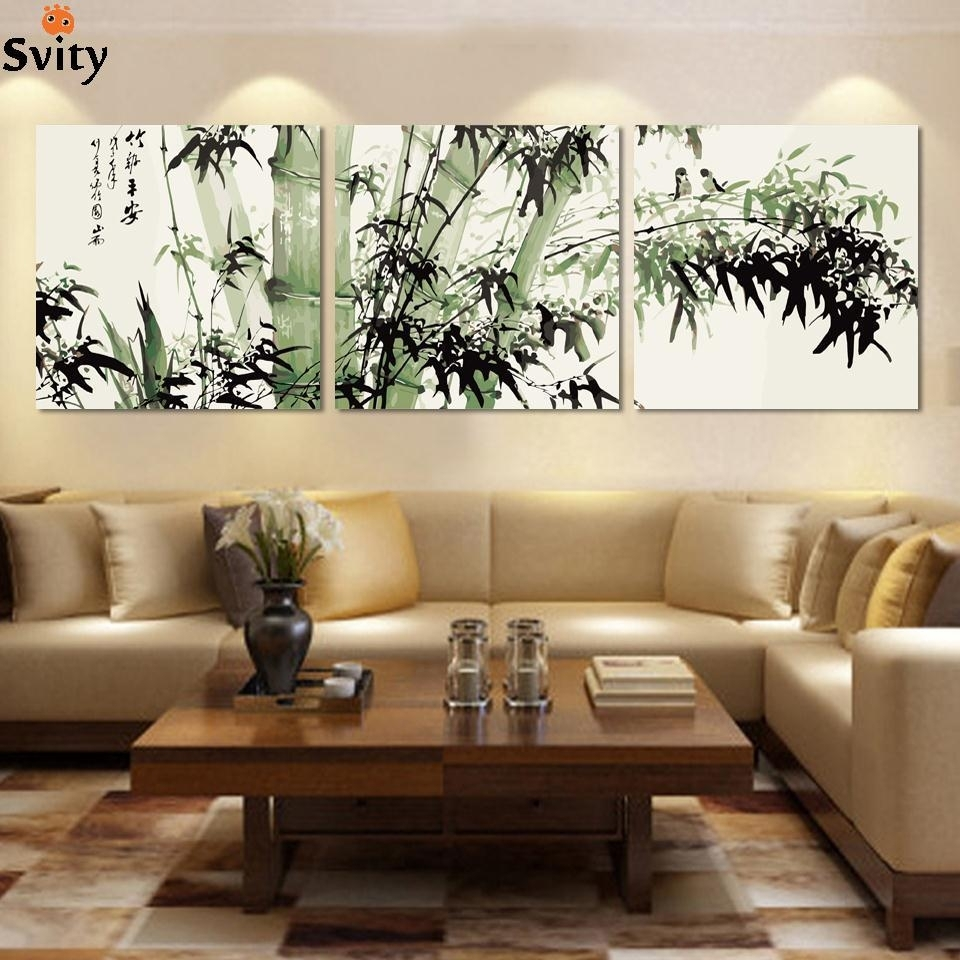 Fashion Large Canvas Art Cheap Modern Abstract Bamboo Canvas Wall Pertaining To Best And Newest Cheap Large Canvas Wall Art (View 3 of 20)