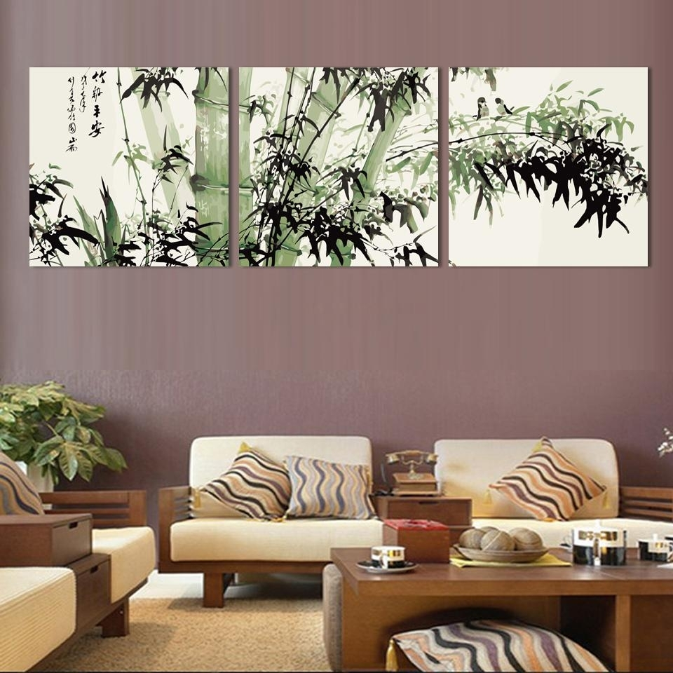 Fashion Large Canvas Art Cheap Modern Abstract Bamboo Canvas Wall With Regard To Most Current Cheap Large Canvas Wall Art (View 5 of 20)